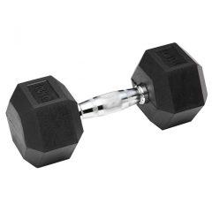 Edzőtermi hatszögletű gumírozott fix súlyzó  1-50 kg-ig